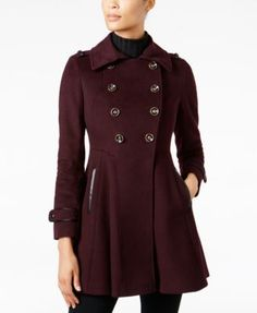 Via Spiga Faux-Fur-Collar Skirted Wool Coat - Black 12