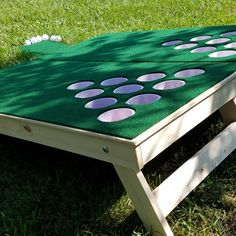 Lawn game Set - 2 full size boards, 2 chipping mats and 12 white plastic balls included! (cups not included) New twist on Cornhole!New twist on Cornhole! Giant Outdoor Games, Outdoor Yard Games, Diy Yard Games, Lawn Games, Diy Games, Backyard Games, Outdoor Toys, Backyard Projects, Outdoor Projects