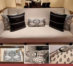 Craftsmanship – Cushions hand embroidered in Kalamkari theme for one of the hotel lobby.  Theme – Handcrafted – Skill – ZEBA  #cushions #hotellobby #kalamkari #handembroidery #black&white #co-ordinated #customised.