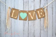LOVE sign, Boho sign, Banner, Garland Floral, Shabby Chic Wedding Decor, Rustic Sign Mint Heart on Etsy, $18.00