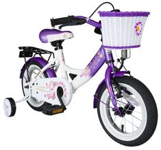 BIKESTAR Original Premium Safety Sport Kids Bike Bicycle with sidestand and accessories for age 3 year old children   12 Inch Classic Edition for girls   Candy Purple & Diamond White