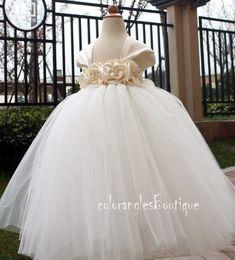 Flower Girl Dress Antique white Ivory tutu dress baby dress toddler birthday dress wedding dress 1T 2T 3T 4T 5T 6T. $69.00, via Etsy.