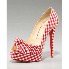 "Christian Louboutin ""Gressimo"" red and white Gingham high Heel peep toe pumps. With the perfect dress would be so pin up! Gingham Shoes, Red Shoes, Red Gingham, Red Plaid, Gingham Check, Tartan, Pump Shoes, Shoe Boots, Shoes Heels"