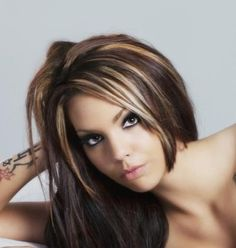 ThanksBrown hair with chunky multi highlights - possible Fall color? awesome pin