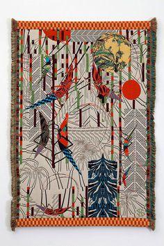 Belt Pattern Sensible 12-13c Antique Textile Fragment Dyeing And Weaving