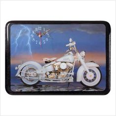 White Motorcycle Wall Clock
