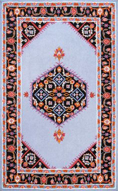 This Is Rugs USAs Fergana Hand Hooked Cardinal Medallion Floral Frieze Rug