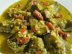 Alcachofas con jamón en salsa verde , a mi las alcachofas no me van mucho, jeje pero con esta salsa todo está rico, con Thermomix .