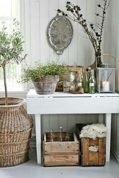 VIBEKE DESIGN: love the living green plants added to this display. Country Decor, Rustic Decor, Farmhouse Decor, Country Living, Rustic Entryway, Country Casual, Farmhouse Lighting, Country Charm, Country Homes