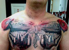 Memorial cross poppy flower with graveyard mens chest tattoos Flower Tattoo Foot, Flower Tattoo Designs, Tattoo Designs Men, Remembrance Flowers, Remembrance Tattoos, Army Tattoos, Military Tattoos, War Tattoo, Poppies Tattoo