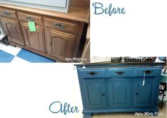 $10 hutch transformed with Aubusson Blue Chalk Paint! Handles sprayed with ORB for a completely new and updated look!! #chalkpaint #aubussonblue