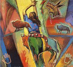 Darren Vigil Gray    (Jicarilla Apache/Kiowa Apache)    ______________    Ascension #6  1988 - acrylic on canvas  133 x 137 cm  /   52 x 54 ''