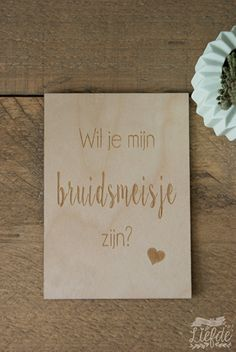 Houten kaart - wil je mijn bruidsmeisje zijn?