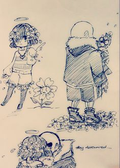 Sans and Frisk Flowerfell