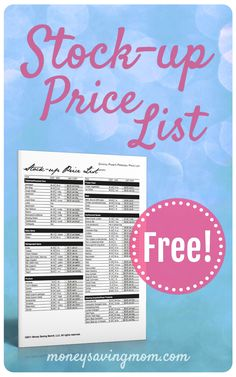 Stock-up price list!! Keep track of the usual prices for a number of pantry items. Included in this pack is my own Stock-up List, with the prices found in my area.