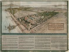 """Proposed Site of the Panama Pacific Exposition West End Golden Gate Park, 1910.  Robert Behlow (1856-1935) Baumgartner, O'Brien & Reynolds, delineators lithograph, 20.25 x 26.75""""  Courtesy of San Francisco History Center, San Francisco Public Library."""