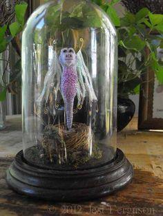 Whimsical 5 Mini OOAK Lavender Dragon w/ Nest & by onceuponamoon