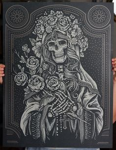 The Sacred Virgin is a 18x24 screen printed art print inspired from the Lady of Guadeloupe. In Mexican culture, it is believed that the Virgin Mary