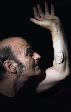 "Performance artist Stelarc implants ""third ear"" in forearm Full Body Tattoo, Body Tattoos, High Tech Low Life, Virtual Reality Systems, Australian Photography, Body Piercings, Environmental Art, Body Modifications, Body Mods"