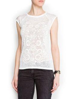 Mango Women's Textured Floral Print T-Shirt, White, S White S MANGO. $29.99
