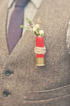 Not sure about using a shotgun shell, but I like the idea of an unconventional boutonniere. Nic: Let's stay away from shotgun-related things but I'm with you on an unconventional boutonniere Wedding Men, Our Wedding, Dream Wedding, Wedding Hair, Wedding Venues, Wedding Stuff, Wedding Themes, Wedding Tips, Wedding Reception