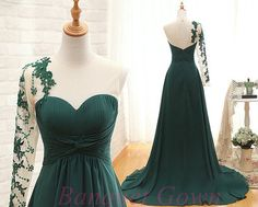 2016 Charming One Shoulder Dark Green Prom Dresses lace Appliques Evening Dresses with Beading for Teens