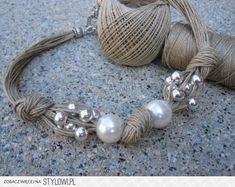 Collar de lino, xl perlas fantasia , perlas plateadas y…