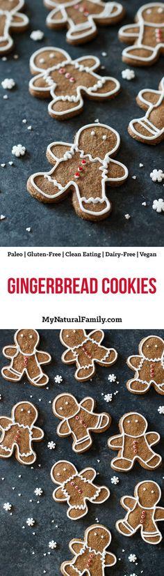 Paleo Gingerbread Cookies Recipe {Paleo Gluten Free Clean Eating Dairy Free Vegan} -- PLUS more Paleo Christmas recipes! Weight Watcher Desserts, Paleo Cookie Recipe, Ginger Bread Cookies Recipe, Cookie Recipes, Dairy Free Cookies, Paleo Cookies, Low Carb Dessert, Paleo Dessert, Dairy Free Recipes