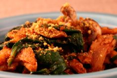 Soy Curls in Spinach, Mushroom and Tomato Sauce