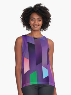 Cool Eclectic and Funky Dark Stained Glass Cathedral Window Design Sleeveless Top Purple Outfits, Girly Outfits, Blouses For Women, Women's Blouses, Purple Leggings, Purple Skirt, Pretty Shirts, Stained Glass, Cathedral