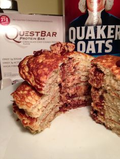 Omg!  Protein pancakes w/ quest bar cookie dough middle....I will be making these tomorrow morning!!!