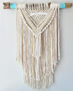 Beachy boho macrame wall hanging. Follow @wolffordswonders on instagram for more!