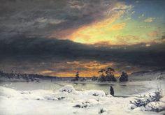 Winter Landscape at sunset, 1880 by Finnish landscape painter Fanny Churberg