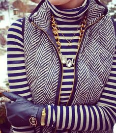 Cute herringbone vest, stripes, navy gloves and jewelry for fall