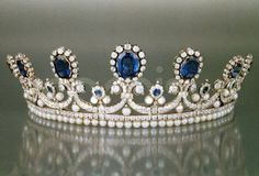 Queen Marie Amelie's Sapphire, Diamond & Pearl Tiara, France (1830; made by Bapst; sapphires, pearls, diamonds).