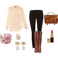 A fashion look from August 2012 featuring beige shirt, stretchy skinny jeans and leather sole shoes. Browse and shop related looks. Fall Outfits For Teen Girls, Fall College Outfits, Casual Outfits For Teens, Fall Outfits For Work, Winter Outfits, Summer Outfits, School Outfits Highschool, First Day Of School Outfit, Cute Outfits For School
