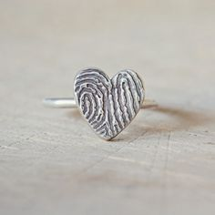 Heart Fingerprint Ring. They touched your heart like no other and now you can wear that fingerprint wherever you go.