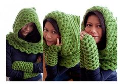 Crochet Hoods - Today's Etsy crochet selection is this terrific, unique, fun crocodile hooded cowl by TootyCo. It is made with Peruvian Highland Wool Yarn, making it a soft and cozy crochet piece. Crochet Gloves, Crochet Scarves, Crochet Shawl, Crochet Stitches, Knitted Hats, Crochet Patterns, Crochet Hood, Crochet Diy, Love Crochet