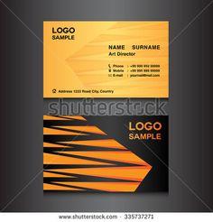 orange Business card design template vector illustration