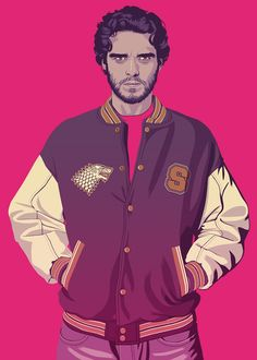 Robb Stark - GAME OF THRONES 80/90s ERA CHARACTERS by Mike Wrobel, aka Moshi-Kun. #hipster #illustration #GTA