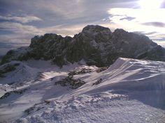La parete nord della Presolana in veste invernale-Italia