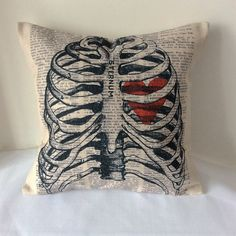 Vintage Skeleton Sugar Skull Heart Cotton Linen Sofa Decoration Car Decoration Throw Pillow Cushion Cover For Home Decor Skull Pillow, Skull Decor, Gothic House, Home And Deco, Skull And Bones, My Room, Cotton Linen, Decorative Throw Pillows, Decoration