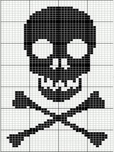 Halloween skull and bones cross stitch.