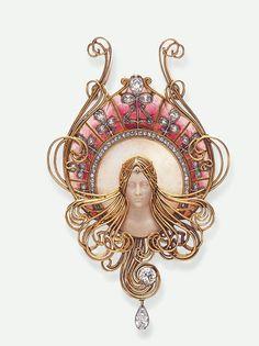 Art Nouveau Pendant, Gabriel Falguieres, diamond/opal/hardstone/ enamel/gold, ca.1901