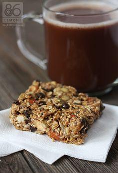 Vegan/GF Chocolate Peanut Butter Breakfast Bars  86lemons.com