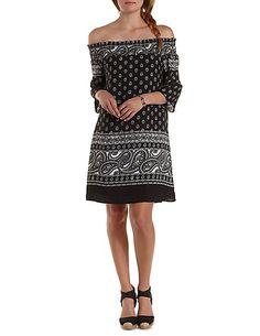 Paisley Print Off-the-Shoulder Shift Dress: Charlotte Russe #offtheshoulder #dress