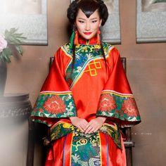 Luxury Chinese kimono dresses red for wedding