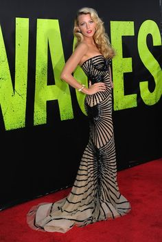 "Blake Lively in Zuhair Murad at the Los Angeles premiere of ""Savages"""