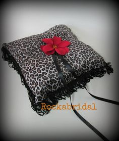 Leopard print Rockabilly Wedding Ring Pillow by Rockabridal, £20.00