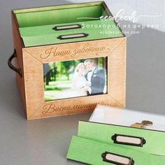 Фотокороб, фотобокс, фотоархив купить  wooden box with 4 photo albums and front photo frame and extra engravings on the sides